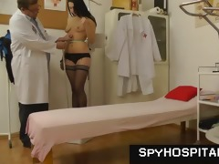brunette hair female-dominant gyno check-up