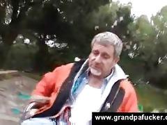 teen helps older man with vacuum pump