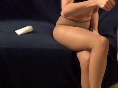 cumming on her hose